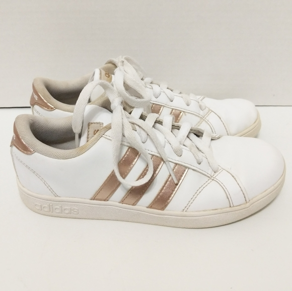Adidas Rose Gold 3 Stripe White Sneakers